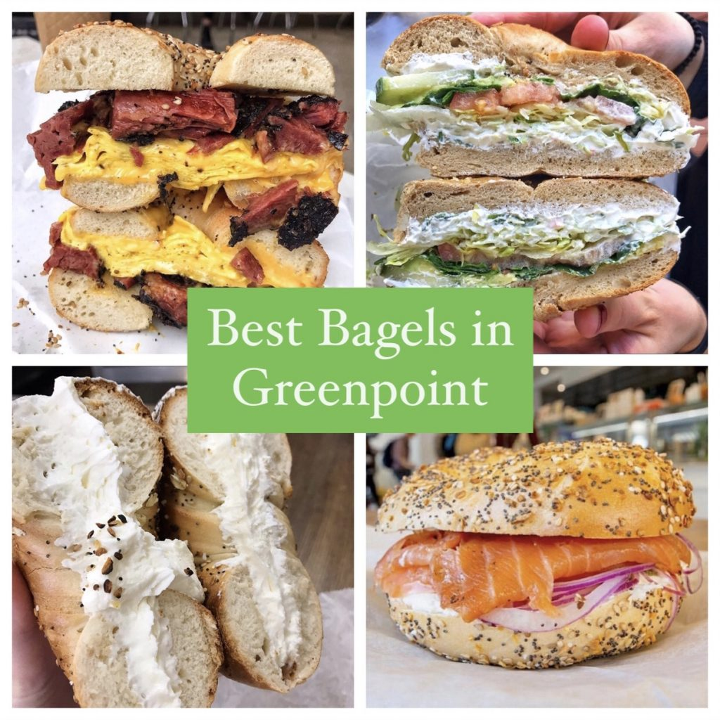 collage of the best bagels in Greenpoint, Brooklyn
