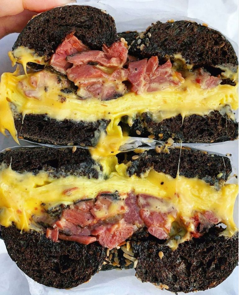 Pastrami, egg and cheese on a pumpernickel everything from Frankel's
