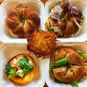 Bagel sandwiches, shakshuka bun, and latke from Edith's in Greenpoint