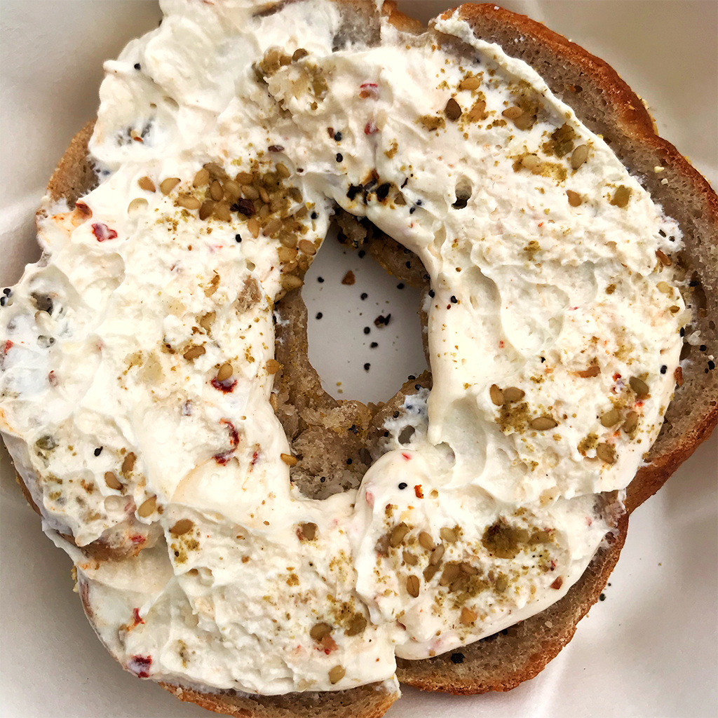 """Chicago"" bagel with labneh, olive oil and za'atar from Edith's in Greenpoint"
