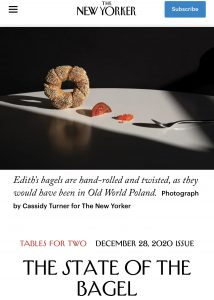 """Cover image from the article """"The State of the Bagel"""" by Hannah Goldfield of The New Yorker"""