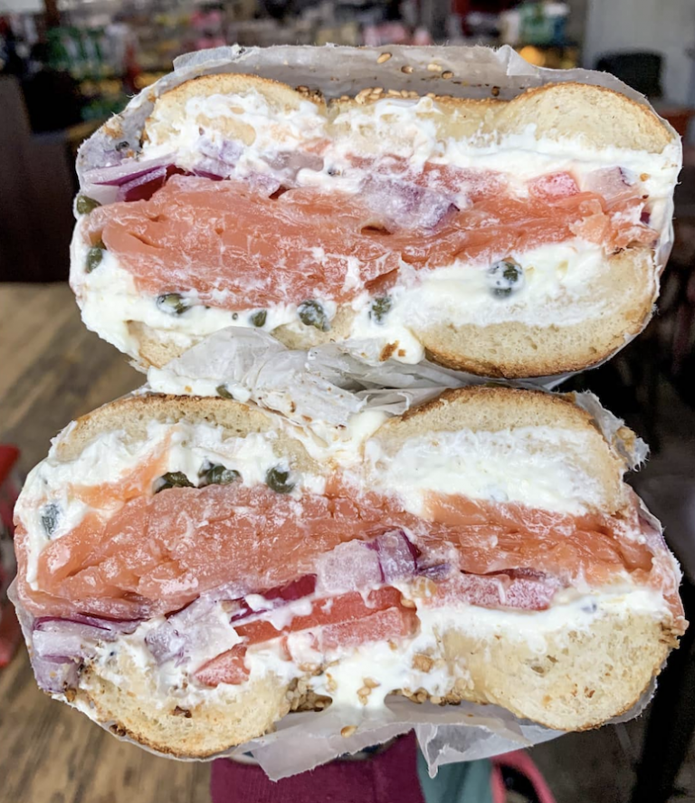 The Worth It from - Sesame Bagel with Cream Cheese, Lox, Tomatoes, Red Onions, and Capers