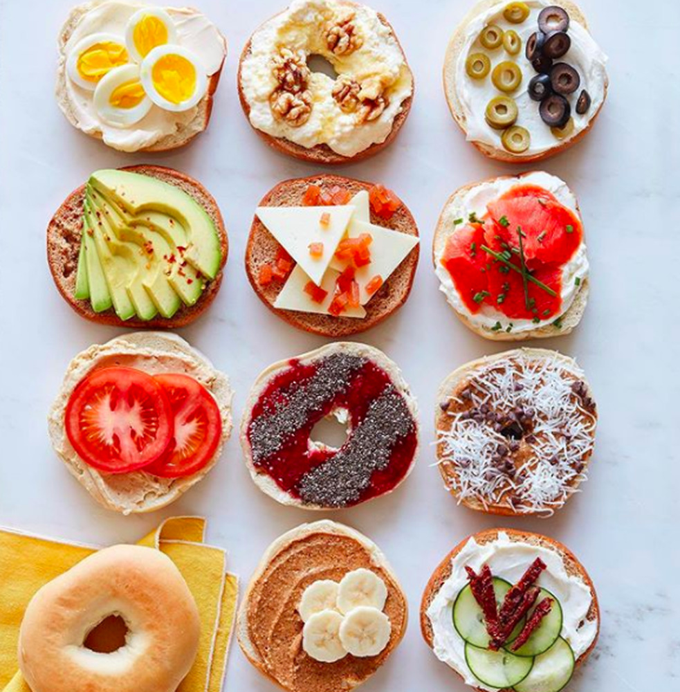 A bagel prepared twelve different ways