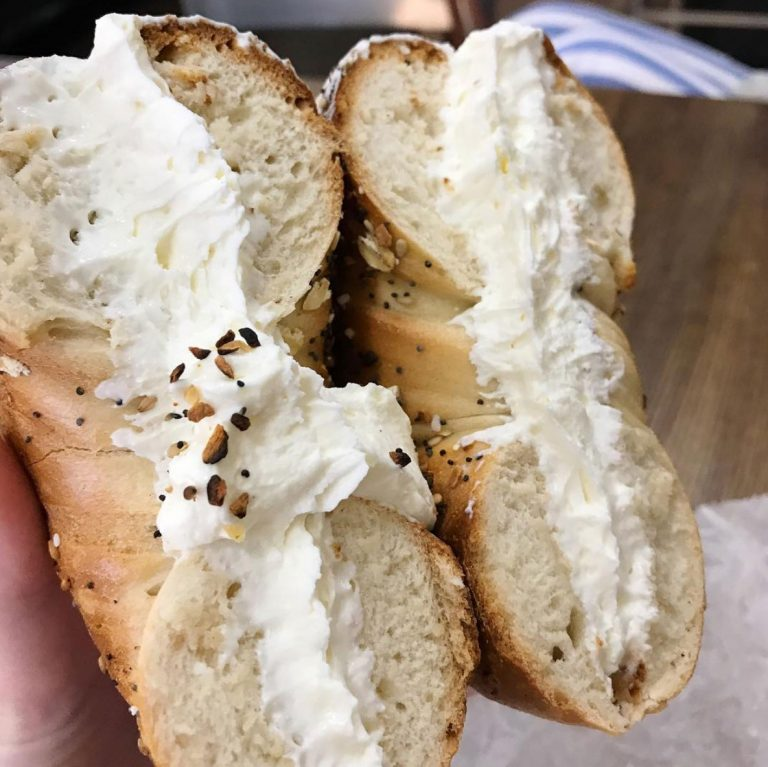 Bagel and cream cheese from Bread Brothers Bagel Cafe in Greenpoint